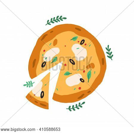 Top View Of Whole Italian Pizza With Sliced Triangle Piece. Vegetarian Food With Mozzarella Cheese,