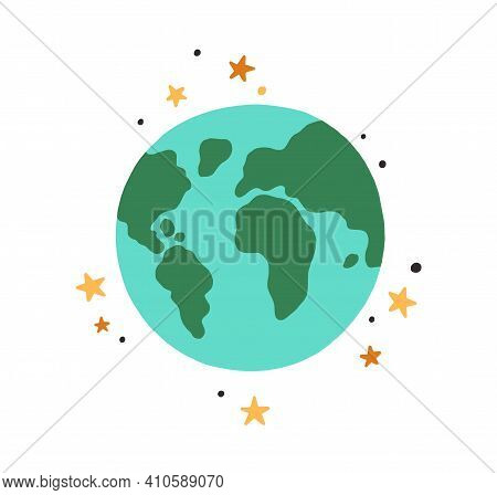 Abstract Earth Globe With Continents And Oceans. Icon Of World Or Planet Drawn In Doodle Style. Colo