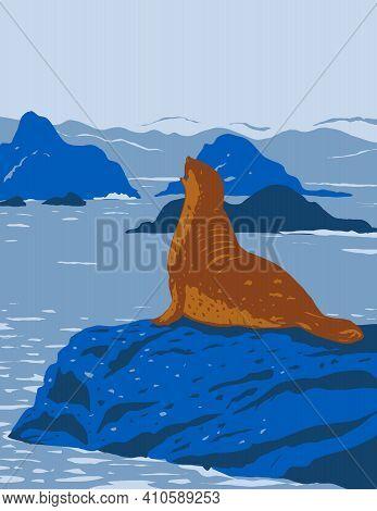 Wpa Poster Art Of California Harbor Seal On Rock Outcroppings In California Coastal National Monumen