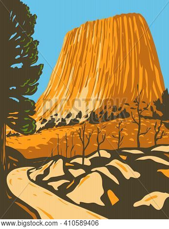 Wpa Poster Art Of The Devils Tower National Monument, A Butte Or Laccolithic In Bear Lodge Ranger Di