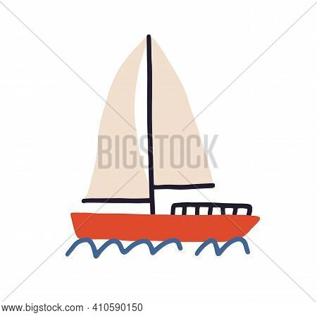 Toy Boat With Sails Floating In Sea Or Ocean Isolated On White Background. Hand-drawn Sailboat Trave