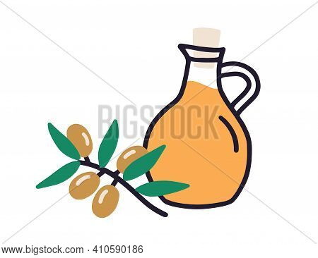 Composition Of Glass Jug Filled With Fresh Extra Virgin Olive Oil And Tree Branch With Fruits. Corke