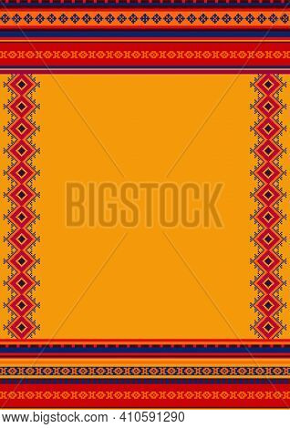 Ethnic Pattern Background With Copy Space For Text. For Mexican Restaurant Menu. Cinco De Mayo Desig