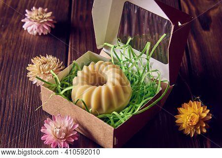 Fragrant Organic Handmade Soap Of Unusual Shape In A Cardboard Gift Box And Dried Flowers On A Dark
