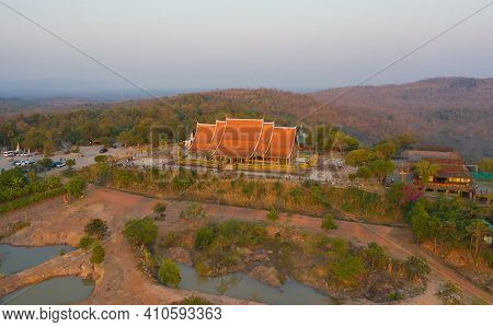 Aerial View Of Wat Sirindhorn Wararam Or Wat Phu Prao Temple In Ubon Ratchathani, Thailand. Buddist