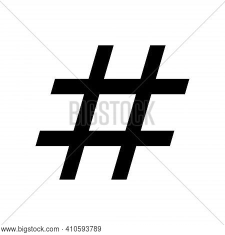 Hashtag Vector Icon With Grunge Texture. Hash Tag Symbol. Social Media Communication Logo Sign. Web