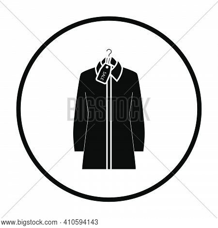 Blouse On Hanger With Sale Tag Icon. Thin Circle Stencil Design. Vector Illustration.