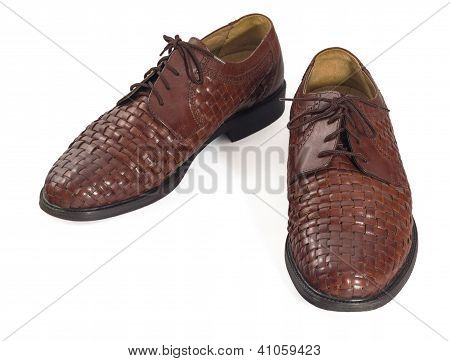 Brown Leather Shoes Isolated On White