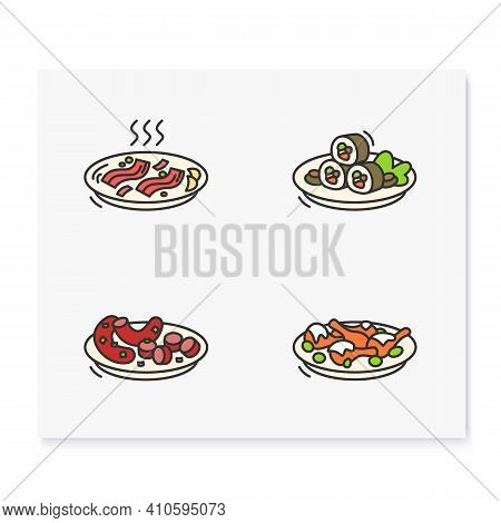 Korean Food Color Icons. Set Of Traditional Korean Dishes .eastern Meal, Meat, Vegetables And Sauces