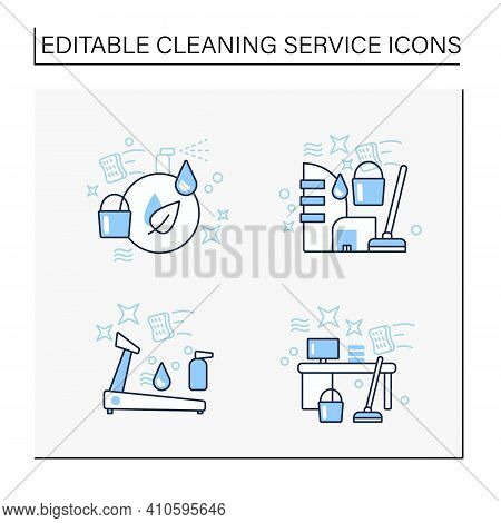 Cleaning Services Line Icons Set.consists Of Green, Commercial Cleaning, Sports Equipment. Cleanup C