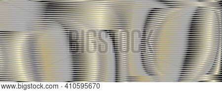 Abstract Futuristic Banner With Striped Rounded Texture And Gold Glow Moire Effect In Grey Gold Half