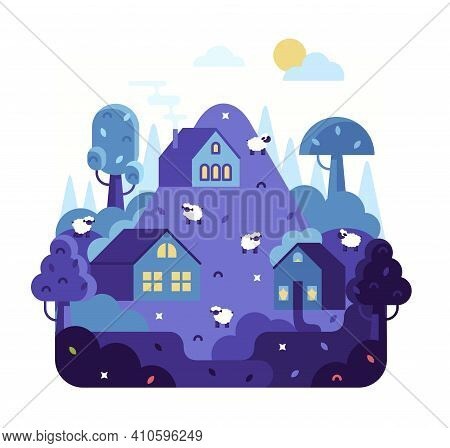 Village Houses And Sheep Walking In The Fields - Vector Cartoon Flat Illustration.