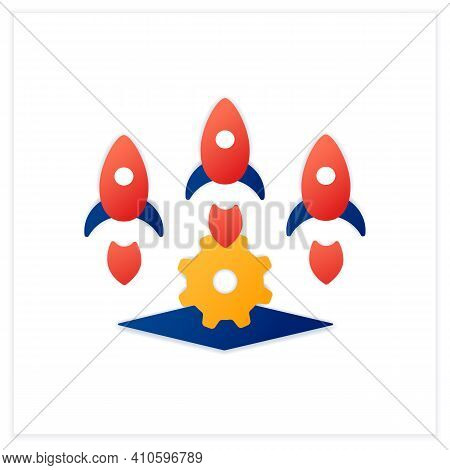 Startup Studio Flat Icon. Launch And Build Several Companies In Succession. Three Successful Busines