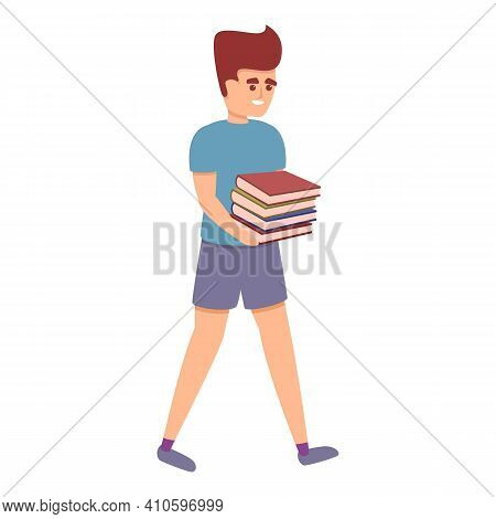 Boy Carry Books Icon. Cartoon Of Boy Carry Books Vector Icon For Web Design Isolated On White Backgr