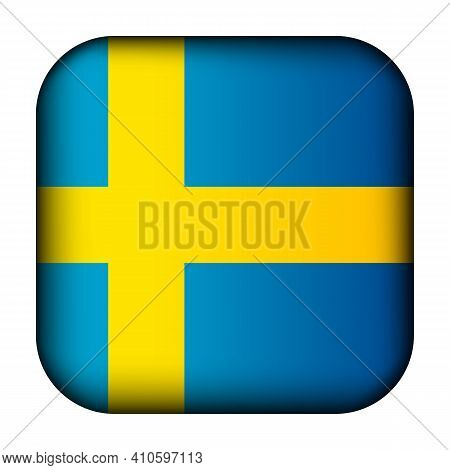 Glass Light Ball With Flag Of Sweden. Squared Template Icon. Swedish National Symbol. Glossy Realist