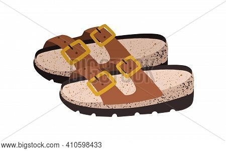 Womens Sandals. Summer Backless Shoes With Straps, Pin Buckle And Comfortable Suede Footbed. Colored