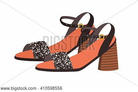 Trendy Heeled Sandals With Buckled Ankle Straps And Open Toe. Womens Fashion Footwear Or Summer Shoe