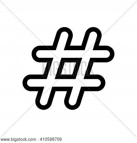 Hashtag Vector Outline Icon. Hash Tag Symbol. Social Media Communication Logo Sign. Web Application