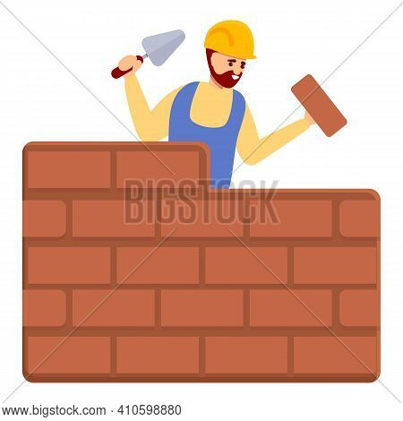 Builder Brick Wall Icon. Cartoon Of Builder Brick Wall Vector Icon For Web Design Isolated On White