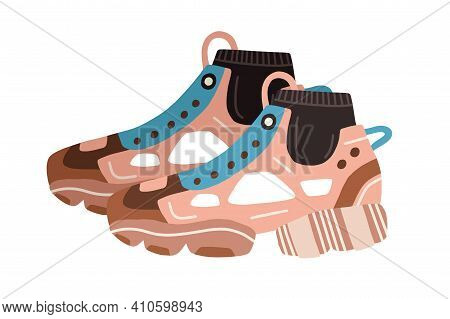 Trendy Womens Ugly Sneakers With Huge Clunky Sole. Side View Of Modern Fashion Footwear. Colored Fla