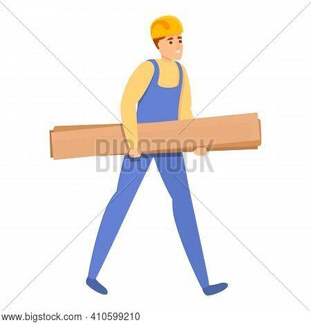 Builder Take Wood Plank Icon. Cartoon Of Builder Take Wood Plank Vector Icon For Web Design Isolated