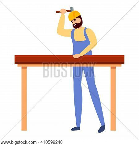 Builder Make Table Icon. Cartoon Of Builder Make Table Vector Icon For Web Design Isolated On White