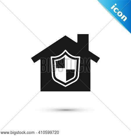 Grey House Under Protection Icon Isolated On White Background. Home And Shield. Protection, Safety,