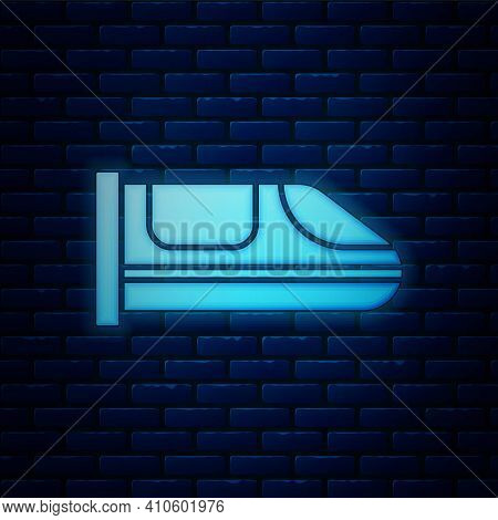 Glowing Neon High-speed Train Icon Isolated On Brick Wall Background. Railroad Travel And Railway To