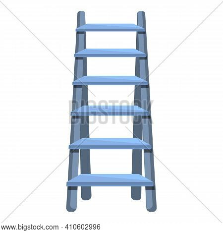 Tall Ladder Icon. Cartoon Of Tall Ladder Vector Icon For Web Design Isolated On White Background