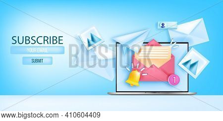 Subscribe Email Newsletter Vector Web Page Template, Social Media Marketing Banner, Laptop Screen. B
