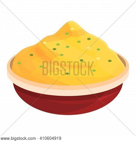 Mashed Potatoes Icon. Cartoon Of Mashed Potatoes Vector Icon For Web Design Isolated On White Backgr