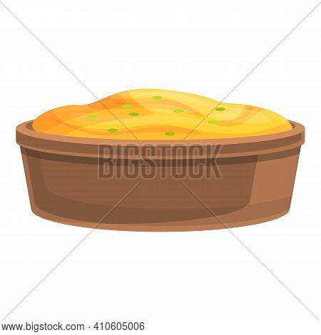 Lunch Mashed Potatoes Icon. Cartoon Of Lunch Mashed Potatoes Vector Icon For Web Design Isolated On
