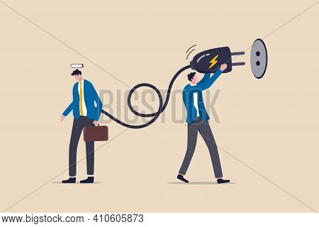 Recharge Energy To Exhausted Fatigue Office Employee, Refresh From Overworked Or Burn Out Concept, B