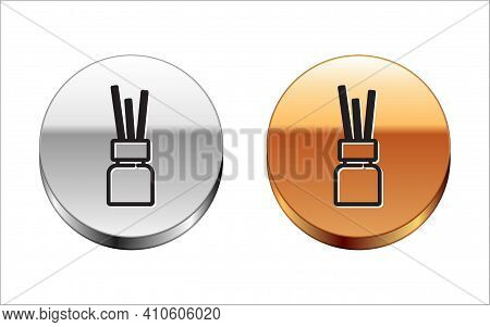 Black Line Aroma Diffuser Icon Isolated On White Background. Glass Jar Different With Wooden Aroma S