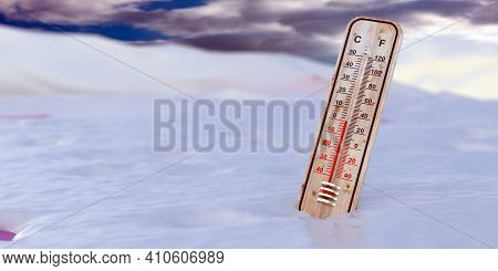 Thermometer Outdoors On Snowy Background, Temperature Zero Degrees Celcius. 3D Illustration