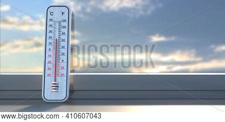 Thermometer Temperature Twenty Degrees Celcius, Glass Window, Room Interior. 3D Illustration