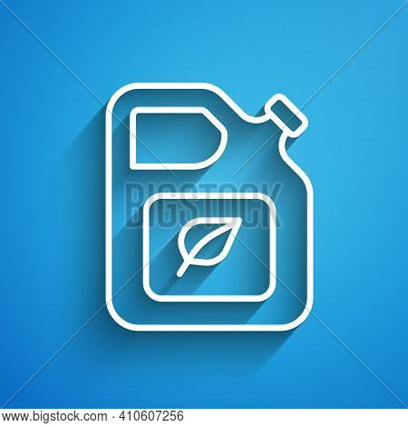 White Line Bio Fuel Canister Icon Isolated On Blue Background. Eco Bio And Barrel. Green Environment