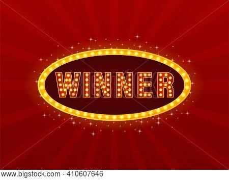 Retro Lightbox With Winner Light On Red Background. Win Prize. Celebration Vector Background. Winner