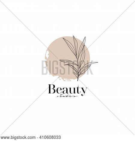 Line Drawing Leaves, Branches, Fashion Concept, Minimalist Beauty, Vector Illustration With Line On