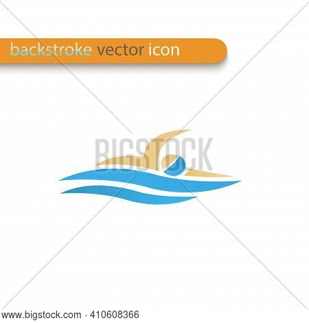 Vector Symbol Of A Backstroke Swimmer. Swimming Pool Icon. Sports Activity In Water Sign.