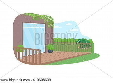 House Back Yard Patio 2d Vector Web Banner, Poster. Modern Dwelling. Summer Recreation. Spring Flat