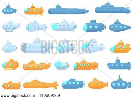 Submarine Icons Set. Cartoon Set Of Submarine Vector Icons For Web Design