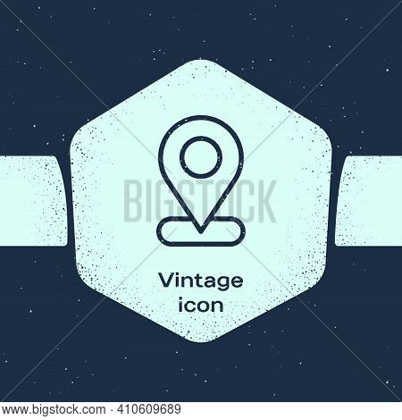 Grunge Line Map Pin Icon Isolated On Blue Background. Navigation, Pointer, Location, Map, Gps, Direc