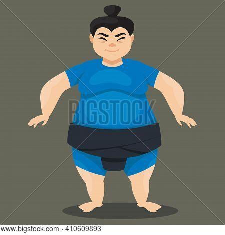 Standing Female Sumo Wrestler. Japan Character In Cartoon Style.