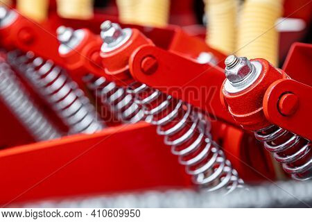 Agricultural Machinery. Close-up Of Technical Units And Mechanisms Of Agricultural Machinery. Spring