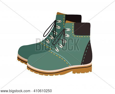 Modern Hiking Or Tracking Boots With Flat Sole And Laces. Fashion Casual Walking Footwear. Colored V
