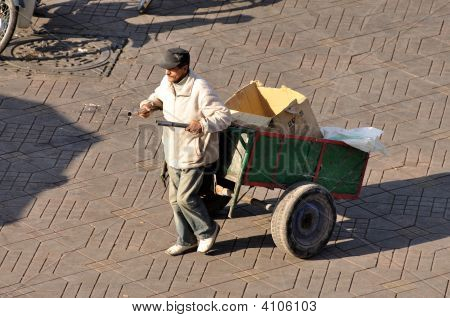Man With Barrow In Marrakech