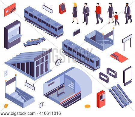 Subway Metro Stations Entry Ticket Gate Exit Staircases Escalators Train Carriage Railway People Iso