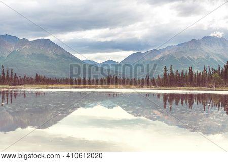 Serenity lake in Alaskan tundra.
