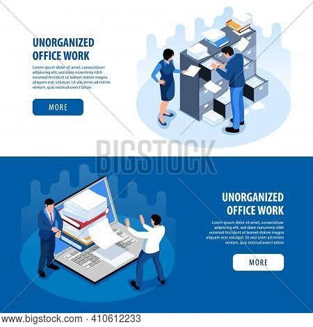 Disorganized Office Space Productivity Problems 2 Isometric Horizontal Banners With Unorganized Work